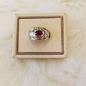 lRuby & Diamond 14K Two Tone Ring Size 6.5